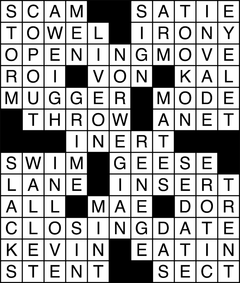 Spring 2019 Crossword Puzzle Answers